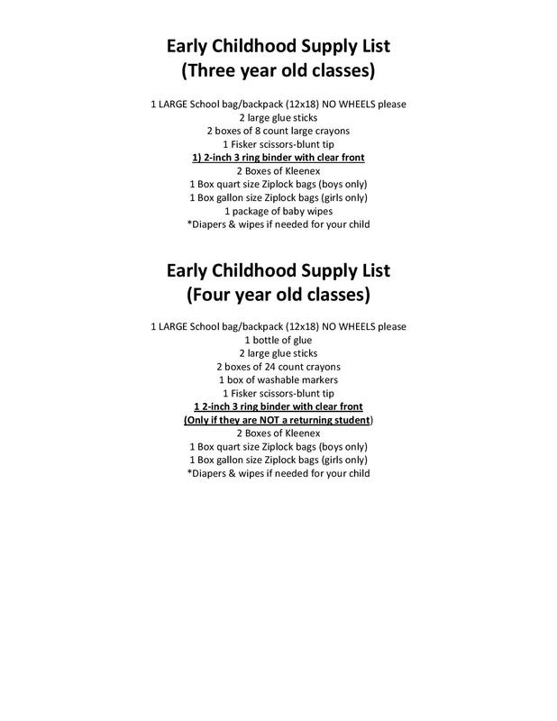 Early Childhood School Supply Lists